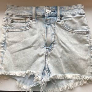 american eagle high rise distressed jean shorts!